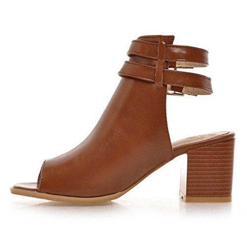 Shoes 52 Heel TAOFFEN Block Sandals Women's Brown qRFIIp