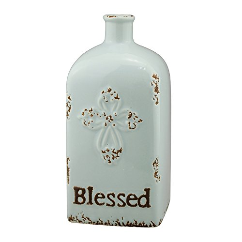 Stonebriar Decorative Pale Ocean Blue Ceramic Vase, For Floral Arrangements and Dried Flower Filler, Centerpiece for Coffee, Kitchen, and Dining Room Table ()