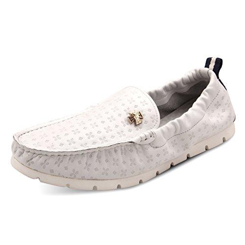 Santimon Heren Lederen Flexibel Oorzakelijk Metaal Details Loafer Schoenen Wit