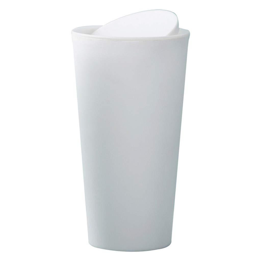 Hisoul Desktop Trash Can Trumpet Creative Covered Kitchen Living Room Trash Can Mini Garbage Organizer (Beige)