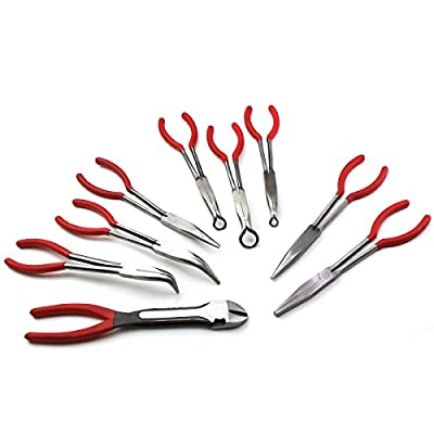 "XtremepowerUS 9pc 11"" inch Long Reach Plier Mechanics Electricians Craft & Hobby Tool Set"
