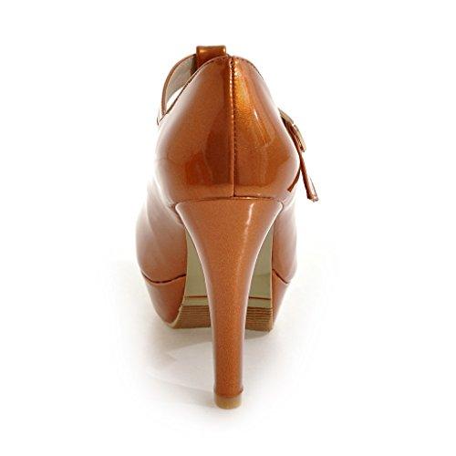 YE Damen T Strap Pumps Blockabsatz High Heels Plateau Geschlossen mit Riemchen Elegant Schuhe Orange