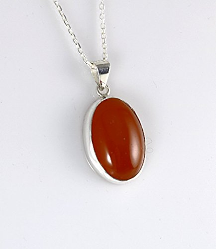 Sterling Silver Natural Orange Carnelian Totally Handcrafted Oval Pendant Necklace 16+2'' Chain - Zodiac Power Pendant