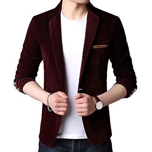 Mfasica Mens Leisure Bodycon Oversize Solid-Colored Blazer Jacket Suits Red XL by Mfasica