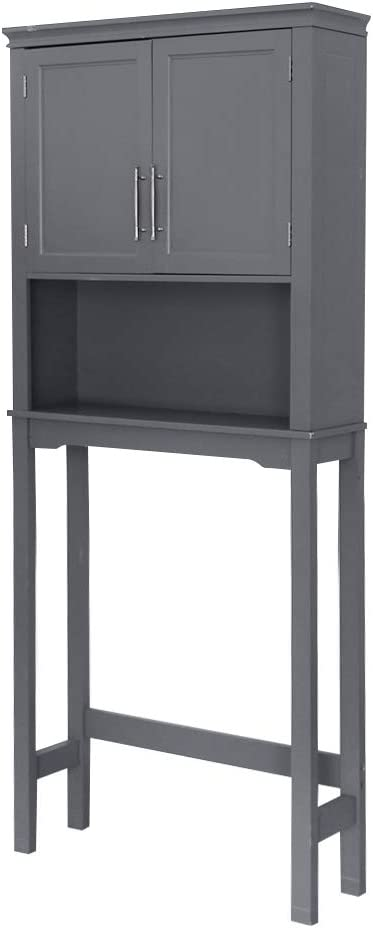Adjustable Shelves /& Metal Handles Knocbel Bathroom Storage Cabinet Over The Toilet Space Saver Free Standing Rack with Double Doors 27.56 L x 7.85 W x 65.08 H Gray