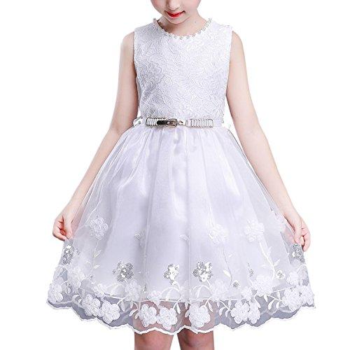 BANGBO LEATHER Elegant Party Dress Flower Girl Dress Sleeveless Princess Dress with Belt for Girls 4-12 Years Old (10-11 Year, White)