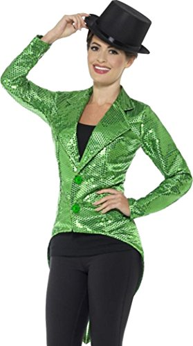 [Sequin Tailcoat Jacket, Ladies Green Large (uk Dress 16-18)] (Sequin Tailcoat Costume)
