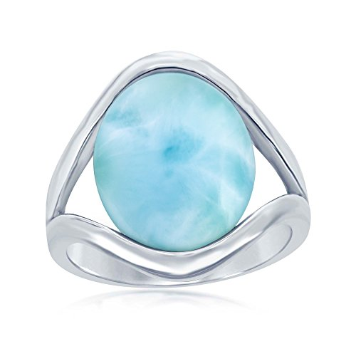 Silver Natural Stone Rings - Sterling Silver High Polish Natural Oval Larimar Stone Ring