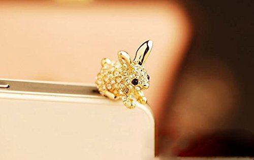 ZOEAST(TM) Luxury Bling Rabbit Cat Dust Plug 3.5mm Phone Headphone Jack Earphone Ear Cap Dust Plug Charm iPhone 4 4S 5 5S 6 6S 7 Plus Huawei Samsung iPad iPod (Rabbit (Rabbit Dust)