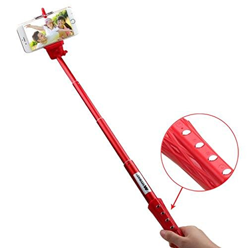 Cell Accessories For Less (TM) Wireless Selfie Stick with Bluetooth Shutter Control - Red for Samsung Exhibit 4G T759 Bundle (Stylus & Micro Cleaning Cloth) - By TheTargetBuys