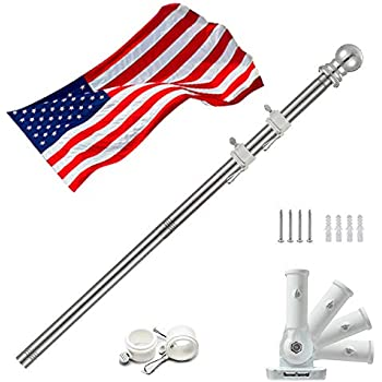 Suitable For Strong Wind Area. Pole&Bracket ONLY Garden Flag Pole For Outside Freely Spinning Flagpole For Residential or Commercial 8 FT Splicable Stainless Steel Ground-mounted Bracket & Pole