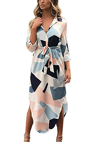 Yieune Women#039s Dress 3/4 Sleeve VNeck Party Sundresses for Autumn and Winter XL