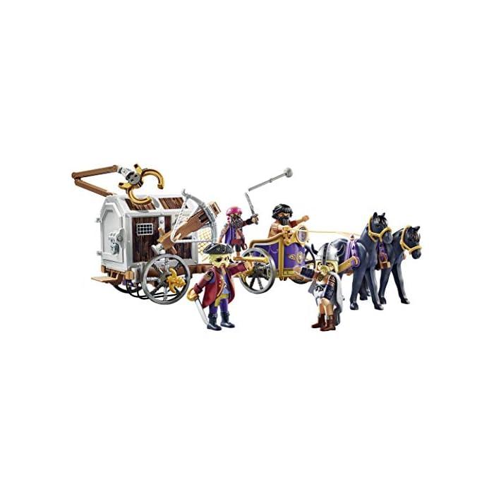 41ZhRFasQIL Diversión para los pequeños aficionados a la gran pantalla; PLAYMOBIL: THE MOVIE: Charlie con carro prisión, trampa y pasillo en la prisión para jugar Ballesta con función de disparo, puerta de prisión con cerradura, 4 figuras, carro con 2 caballos, etc., a juego con PLAYMOBIL: THE MOVIE Marla (70072) Juego de figuras para niños a partir de 5 años: óptimo para el tamaño de sus manos y bordes redondeados agradables al tacto