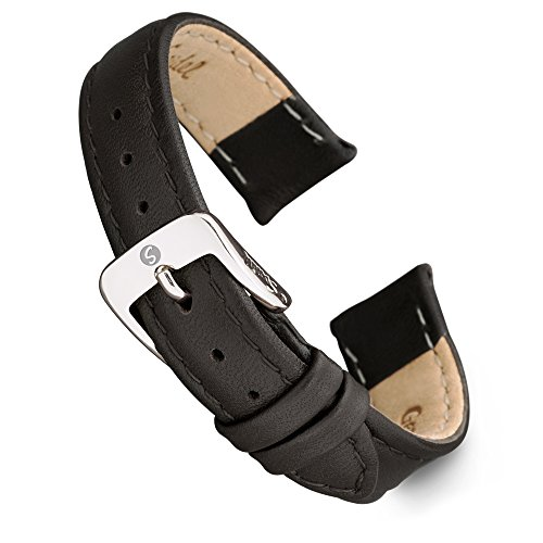 Speidel Genuine Leather Watch Band 10mm Black Calf Skin Replacement Strap, Stainless Steel Metal Buckle Clasp, Watchband Fits Most Watch Brands (Genuine Calf Leather Watch Band)