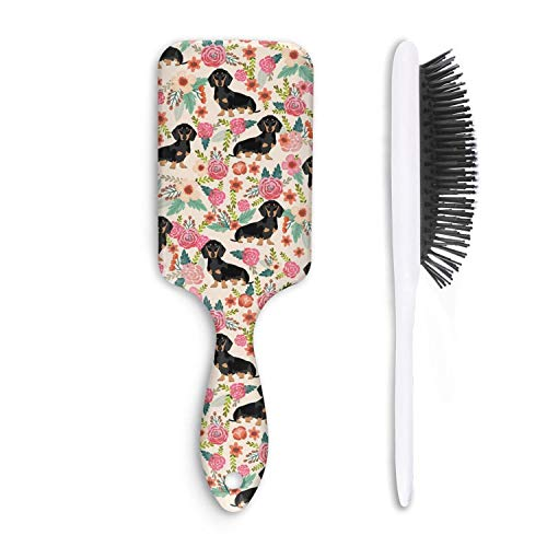 Unisex Detangle Hair Brush Flowers Florals Dachshund dog Boar Bristle Paddle Hairbrush for Wet, Dry, Thick, Thin,Curly hair