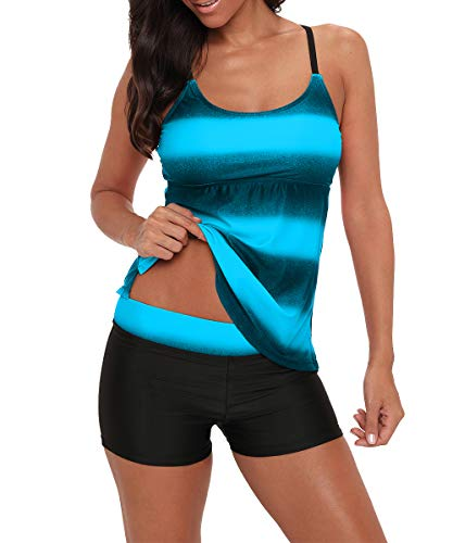 Zando Womens 2 Piece Swimdress Plus Size Skirted Bathing Suit for Women Slimming Swimwear Tummy Control Tankini Swimsuit Swim Dress Flattering Blue Stripe Medium (fits like US 4-6)