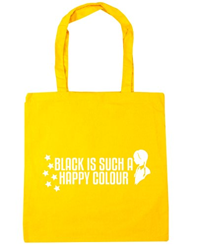 HippoWarehouse Black Is Such A Happy Colour Tote Shopping Gym Beach Bag 42cm x38cm, 10 litres Yellow