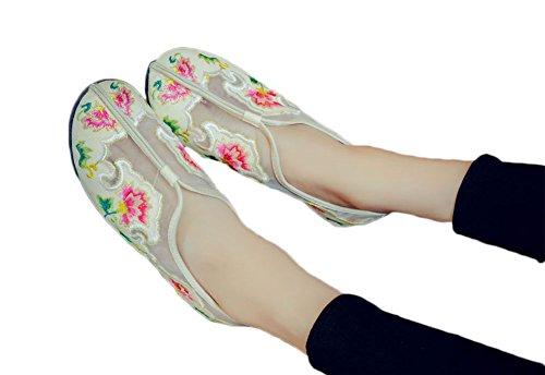 Avacostume Grenadine Embroidery Mujeres Vintage Slip-on Loafer Beige