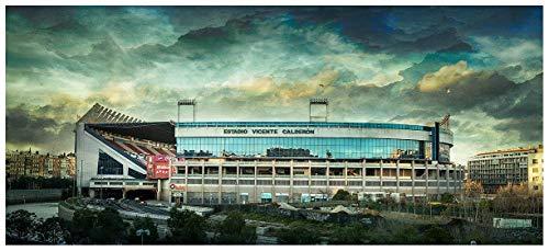 Lámina para enmarcar - Estadio Vicente Calderón - Atlético de Madrid - Fotografía artística y moderna de alta calidad - Impresa sobre papel fotográfico - Hecho a mano en España (60_x_134_cm): Amazon.es: Handmade