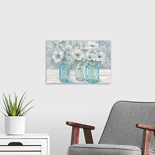 Vintage Jar Bouquet Landscape Poster Art Print Dogwood Home Decor