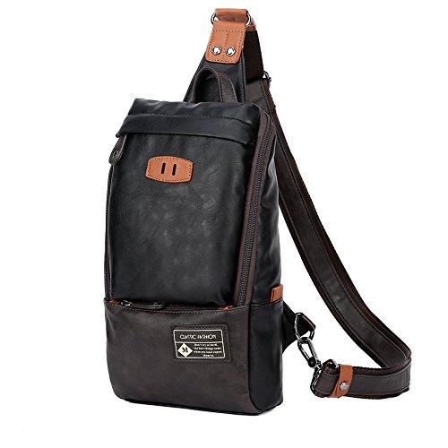 Zebella Men Unbalance Chest Pack Multipurpose Backpack Crossbody Shoulder Bag
