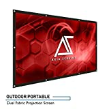 "Akia Screens 120-inch Indoor Outdoor Portable Projector Screen 16:9, Anti-Crease Foldable Dual Front Rear Retractable 120"" Projection Screen DIY Hang Anywhere, AK-DIYOUTDOOR120H"