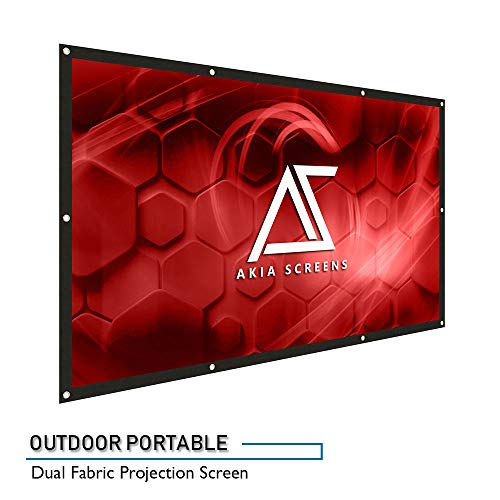 "Akia Screens 120-inch Indoor Outdoor Portable Projector Screen 16:9, Anti-Crease Foldable Dual Front Rear Retractable 120"" Projection Screen DIY Hang Anywhere, AK-DIYOUTDOOR120H by Akia Screens"