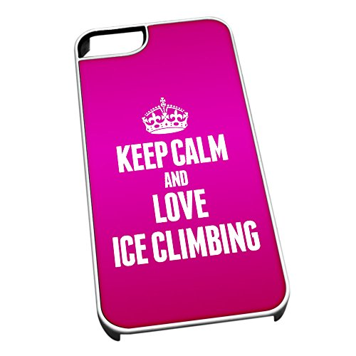 Bianco cover per iPhone 5/5S 1781Pink Keep Calm and Love Ice climbing