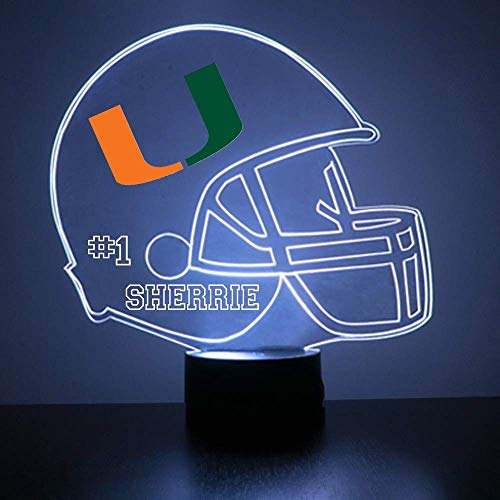 Mirror Magic Store Miami Hurricanes Football Helmet LED Night Light with Free Personalization - Night Lamp - Table Lamp - Featuring Licensed Decal