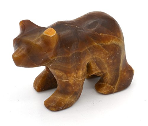 "Chestnut Brown Stone Grizzly Bear Figure, 4"" long, Carved from Real North American Onyx - The Artisan Mined Series by hBAR"