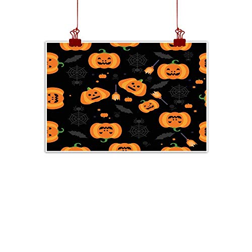 Mannwarehouse Modern Frameless Painting Seamless Halloween Pumpkin Pattern Vector Illustration Bedroom Bedside Painting 35