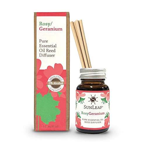 SunLeaf Naturals Pure Essential Oil Mini Reed Diffuser 0.9oz Rosy/Geranium