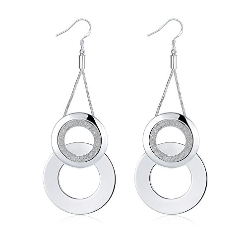 KOREA-JIAEN Fashion Jewelry Chests S925 Sterling Silver Plated Dangle Earring Set (Bicircle)