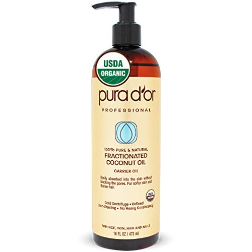PURA D'OR Carrier Oil: Organic Fractionated Coconut Oil 16 oz - USDA Certified Organic 100% Pure & Natural Hexane Free Moisturizing Carrier Oil For Face, Skin, and Hair