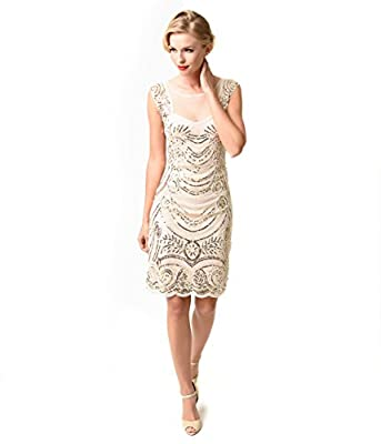 1920s Style Cream & Gold Beaded Deco Illusion Short Flapper Dress