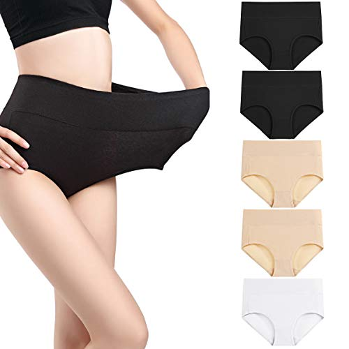 wirarpa Women's 5 Pack Cotton Underwear High Waisted Full Coverage Brief Panties Ladies Comfortable Underpants Black Beige White, Size 7