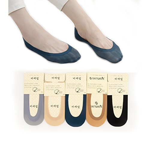 Huluwa Women's Socks Ultra Thin Ice Silk Low Cut No Show Liner Non Slip Summer Socks, 5 Pairs, 5 Colours