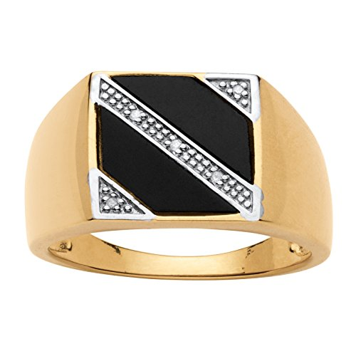 Mens Fancy Onyx (Men's 14K Yellow Gold over Sterling Silver Natural Black Onyx and Diamond Accent Ring Size 10)