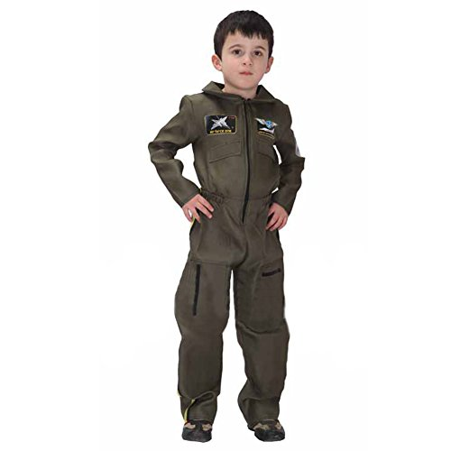 [TopTie Jet Pilot Child Costume, Air Force Jumpsuit For Kid GREEN-XL] (Girls Pilot Costumes)