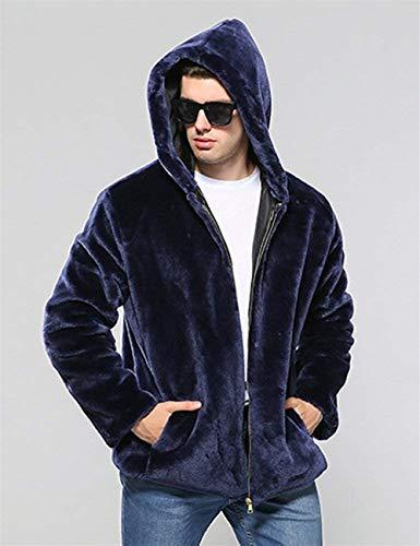 Abiti Tasche Giacche Caldo Giacca Cerniera Soprabito Sciolto Blau Comode Taglie Uomo Fashion Cappuccio Di Cappotto Semplice Laterali Pelliccia Hx Con xaU4Fwn