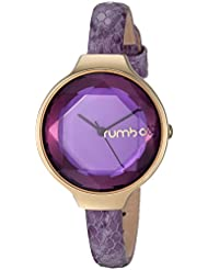 RumbaTime Womens Orchard Gem Exotic Quartz Stainless Steel and Leather Casual Watch, Color:Purple (Model: 26658)