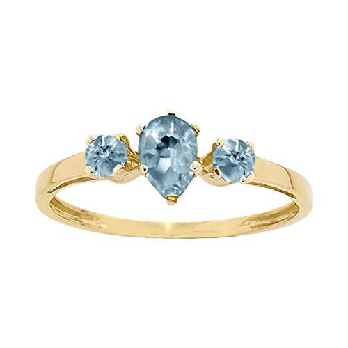 ArtCarved Sunshine Simulated Aquamarine March Birthstone Ring, 10K Yellow Gold, Size (Artcarved Yellow Ring)