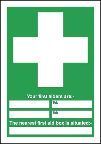 First Aid Box Sign (Your First Aiders Are, Your Nearest First Aid Box Is Situated Metal Signs Novelty Aluminum Sign Vintage Metal Wall Plaque Outdoor Indoor Tin Signs Wall Poster 20 x 30 cm)