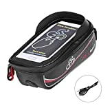Bike Bag, Frame Bike Bag with Waterproof Touch Screen Phone Holder Case for iPhone X 8 7 6s 6 plus 5s 5/Samsung Galaxy s7 s6 note 7 Cellphone Below 6.0 Inch