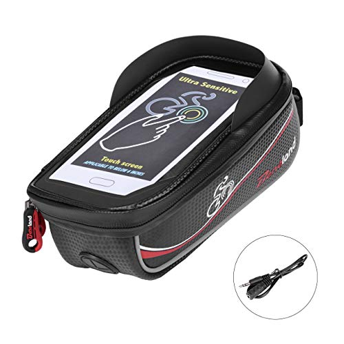 Bike Bag, Frame Bike Bag with Waterproof Touch Screen Phone Holder Case for iPhone X 8 7 6s 6 plus 5s 5/Samsung Galaxy s7 s6 note 7 Cellphone Below 6.0 Inch by Beneland