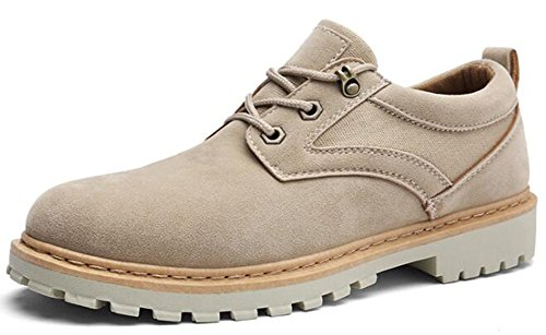 Top Sneakers Booties Mens Apricot Antiskid IDIFU Low Faux Lace Flat Boots Up Martin Suede xwHg8qwz
