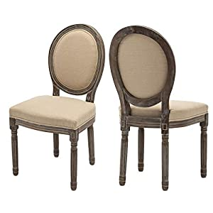 ZHENGHAO French Country Round Cane Back Dining Chairs Set of 2, Farmhouse Retro Kitchen Chairs, Distressed Wood Chairs…