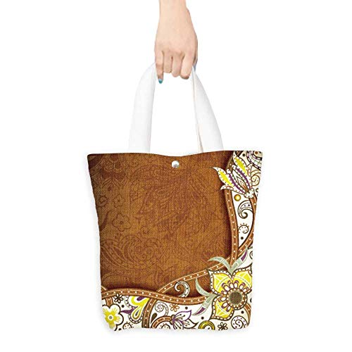 Grocery Shopping Bags with Handles Abstract Brown and Yellow Floral Background Also a Gift for Mom W11 x H11 x D3 INCH