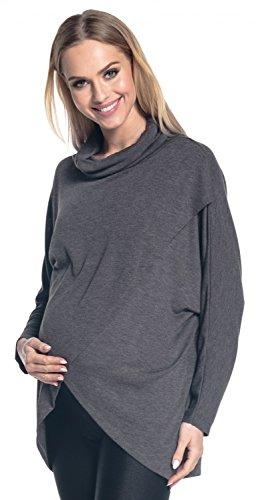 Happy Mama. Femme Top Maternité Allaitement Maille Fine Cache-Coeur Couche. 370p (Graphite Mélange, EU 40/42, M)