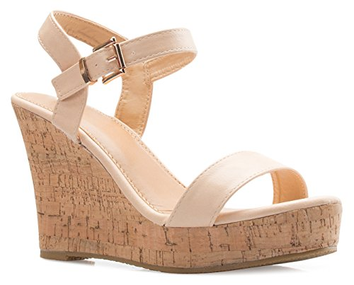 (OLIVIA K Women's Open Toe Strappy Mid High Wedge Heel Wood Decoration Buckle Shoes Sandals)